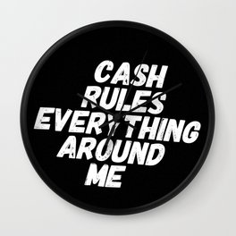 Cash Rules CREAM Wall Clock