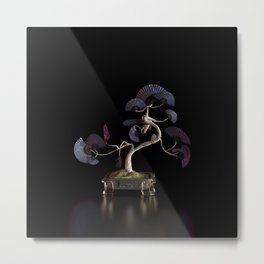 Oriental Fan Tree - Blue Metal Print