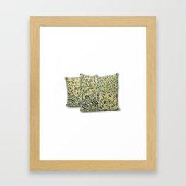 Handmade Floral Print Kantha Pillow Cover Framed Art Print