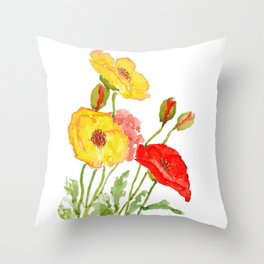 red and yellow  poppies Throw Pillow