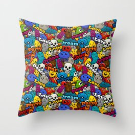Colorful Graffiti Characters Pattern Throw Pillow