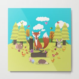 Forest Friends Fall Frolic Metal Print