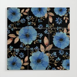 Blue flowers with black Wood Wall Art
