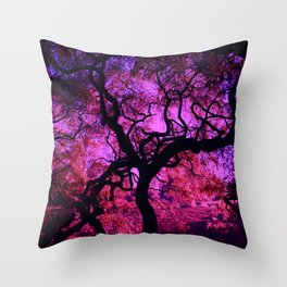 Under the Tree in Pink and Purple Throw Pillow