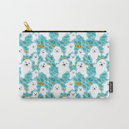 White cute fur seal and fish in water Carry-All Pouch