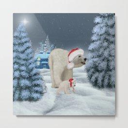 Wonderful polar bear mum with polar bear baby with christmas hat Metal Print