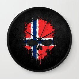 Flag of Norway on a Chaotic Splatter Skull Wall Clock