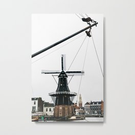 Iconic mill and church in winter, photographed through the mast of a boat | Haarlem historical city, the Netherlands | Urban travel photography Art Print Metal Print