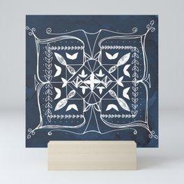 Navy Blue Art, Mandala Spirituality Meditation Focus Art, Butterfly Watercolor Line Art Mini Art Print