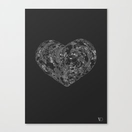 Love doodle (white and black) Canvas Print