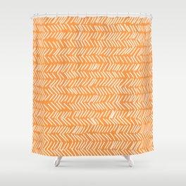 Sherbet Herringbone Lines Shower Curtain