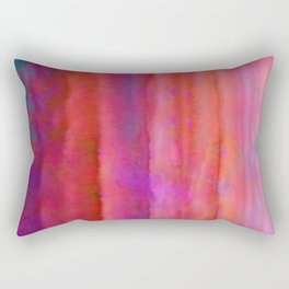 Striped Watercolor Art vibrant Red and Pink Rectangular Pillow