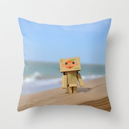 Danbo on the beach Throw Pillow