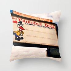 The Friendly Duck Restaurant Throw Pillow