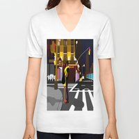 broadway V-neck T-shirts featuring BROADWAY KISS by Alfred Fox Art & Photography