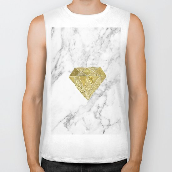 Gold diamond on marble Biker Tank