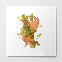 Axolotl Wearing a Backpack Metal Print