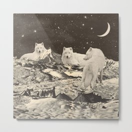 Three Giant White Wolves on Mountains Metal Print