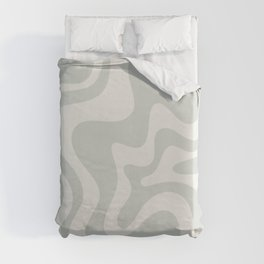 Liquid Swirl Modern Abstract Pattern in Pale Stone and Light Silver Sage Gray Duvet Cover