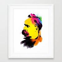 nietzsche Framed Art Prints featuring Friedrich Wilhelm Nietzsche by DIVIDUS