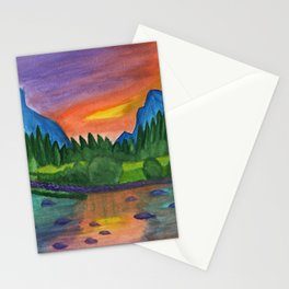 Mountain river in the background of the forest and the blue mountains at sunset Stationery Cards