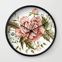 Pink Wild Rose Bouquet Wall Clock