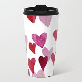 Valentine's Day Watercolor Hearts - pink Travel Mug