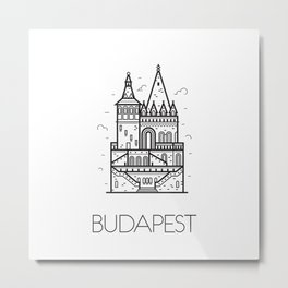 Budapest Hungary Black and White Metal Print