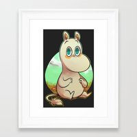 moomin Framed Art Prints featuring chill Moomin by lemonteaflower