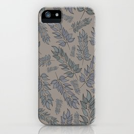 Grey green blue muted leaf pattern iPhone Case