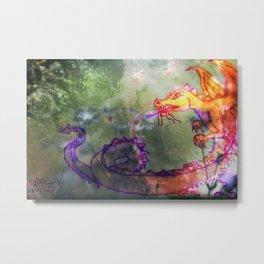 Garden of the Hesperides, digital art with fierce dragon Metal Print