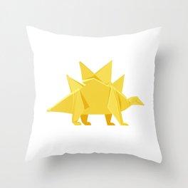 Origami Stegosaurus Flavum Throw Pillow