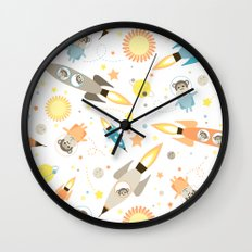 Apes in space Wall Clock