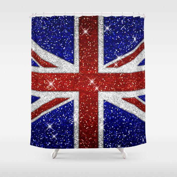 Glitters Shiny Sparkle Union Jack Flag Shower Curtain by tees2go