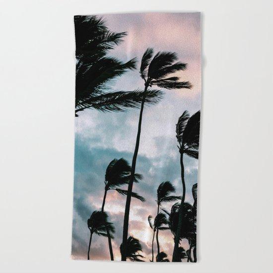 Palm trees, Bavaro beach Beach Towel