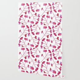 Ginkgo Leaves Watercolor Raspberry Pink on white Wallpaper