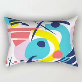 Bright Colorful Abstract Shapes Paper Cut Rectangular Pillow