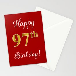 """Elegant """"Happy 97th Birthday!"""" With Faux/Imitation Gold-Inspired Color Pattern Number (on Red) Stationery Cards"""