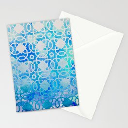 Elegant Islamic Geometric Blue Pattern Stationery Cards