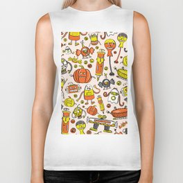 Monster Halloween Candy Bots in Orange, Yellow, Black, & Gray  // Fall Holiday Themed Candy Robots Biker Tank