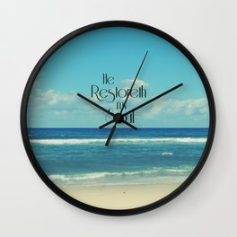 He Restoreth My Soul Bible Verse with Beach Wall Clock