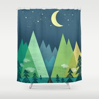 road Shower Curtains featuring The Long Road at Night by Jenny Tiffany