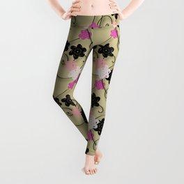 Pink White Black Flower Pattern Leggings