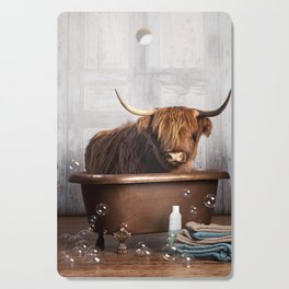 Highland Cow in the Tub Cutting Board
