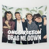1d Wall Tapestries featuring 1D Drag me down by kikabarros