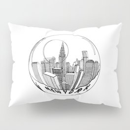 THE CITY of New York in a Suspended Bowl . Artwork Pillow Sham