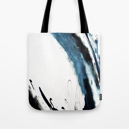 Reykjavik: a pretty and minimal mixed media piece in black, white, and blue Tote Bag