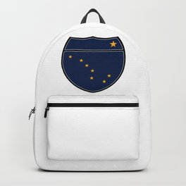 Alaska Flag In An Interstate Sign Backpack