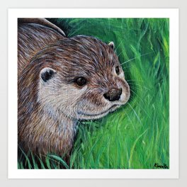Little River Otter Painting Art Print