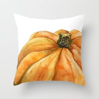 pumpkin Throw Pillows featuring Pumpkin by Cindy Lou Bailey